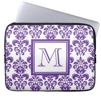 Your Monogram, Dark Purple Damask Pattern 2 Laptop Computer Sleeves