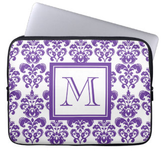 Your Monogram, Dark Purple Damask Pattern 2 Laptop Sleeve