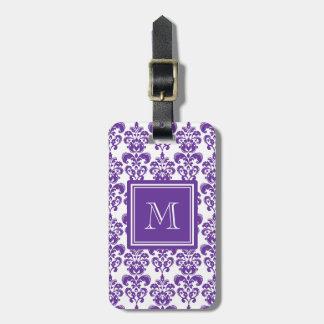 Your Monogram, Dark Purple Damask Pattern 2 Travel Bag Tag