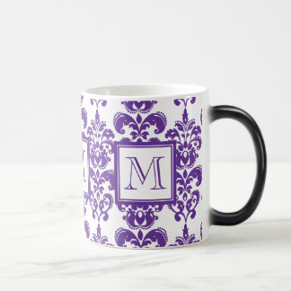 Your Monogram, Dark Purple Damask Pattern 2 Magic Mug