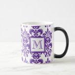 Your Monogram, Dark Purple Damask Pattern 2 Mug