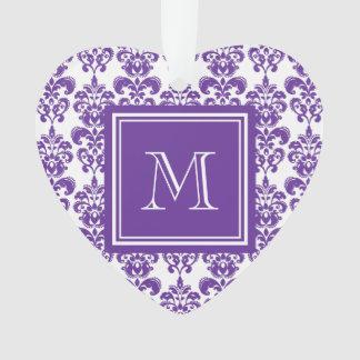 Your Monogram, Dark Purple Damask Pattern 2 Ornament