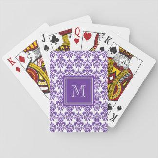 Your Monogram, Dark Purple Damask Pattern 2 Playing Cards