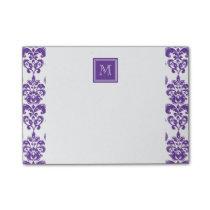 Your Monogram, Dark Purple Damask Pattern 2 Post-it Notes