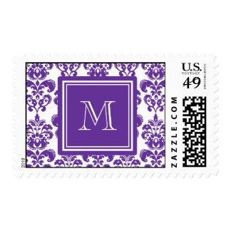 Your Monogram, Dark Purple Damask Pattern 2 Postage
