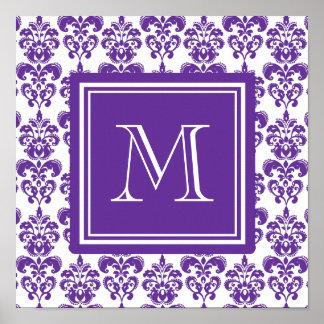 Your Monogram, Dark Purple Damask Pattern 2 Poster