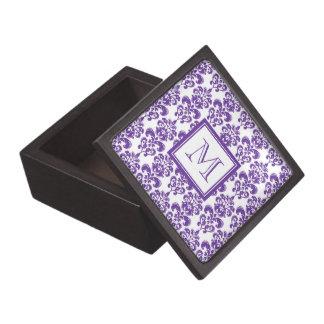 Your Monogram Dark Purple Damask Pattern 2 Premium Trinket Box