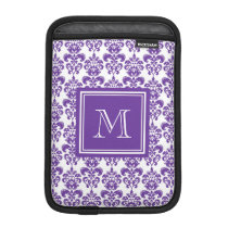 Your Monogram, Dark Purple Damask Pattern 2 Sleeve For iPad Mini