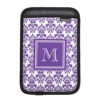 Your Monogram, Dark Purple Damask Pattern 2 Sleeve For iPad Mini