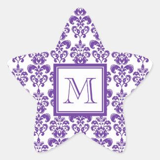 Your Monogram, Dark Purple Damask Pattern 2 Star Sticker