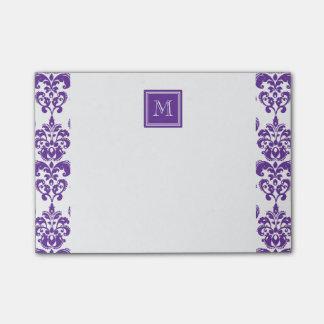 Your Monogram, Dark Purple Damask Pattern 2 Post-it® Notes