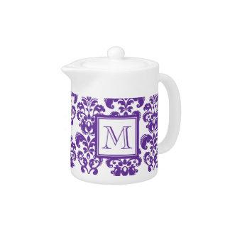 Your Monogram, Dark Purple Damask Pattern 2 Teapot