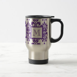 Your Monogram, Dark Purple Damask Pattern 2 Travel Mug