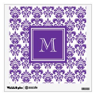 Your Monogram, Dark Purple Damask Pattern 2 Wall Sticker