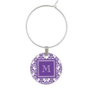 Your Monogram, Dark Purple Damask Pattern 2 Wine Charm
