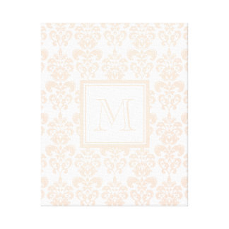 Your Monogram, Flesh Pink Damask Pattern 2 Gallery Wrap Canvas