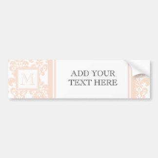 Your Monogram, Flesh Pink Damask Pattern 2 Car Bumper Sticker