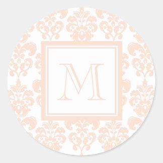 Your Monogram, Flesh Pink Damask Pattern 2 Classic Round Sticker