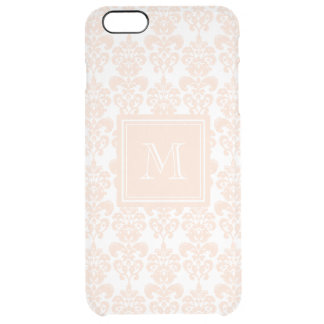 Your Monogram, Flesh Pink Damask Pattern 2 Clear iPhone 6 Plus Case