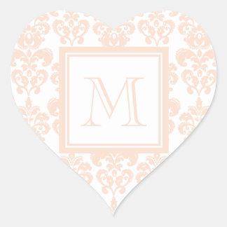 Your Monogram, Flesh Pink Damask Pattern 2 Heart Sticker