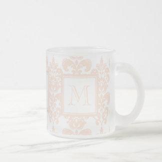 Your Monogram, Flesh Pink Damask Pattern 2 Mug