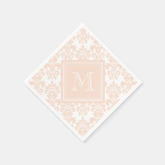 Your Monogram, Flesh Pink Damask Pattern 2 Paper Napkin