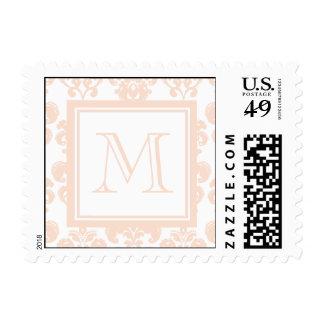 Your Monogram, Flesh Pink Damask Pattern 2 Postage Stamp