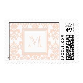 Your Monogram, Flesh Pink Damask Pattern 2 Stamp