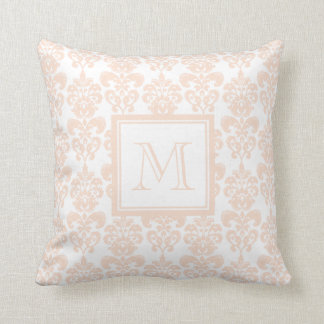 Your Monogram, Flesh Pink Damask Pattern 2 Throw Pillow
