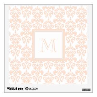 Your Monogram, Flesh Pink Damask Pattern 2 Wall Decal