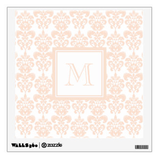 Your Monogram, Flesh Pink Damask Pattern 2 Wall Skin