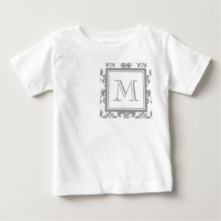 Your Monogram, Grey Damask Pattern 2 Baby T-Shirt