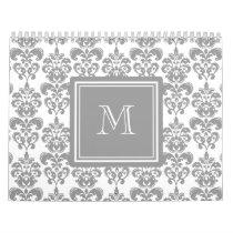 Your Monogram, Grey Damask Pattern 2 Calendar