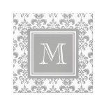 Your Monogram, Grey Damask Pattern 2 Stretched Canvas Prints