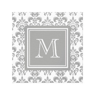 Your Monogram, Grey Damask Pattern 2 Canvas Print