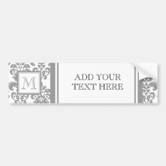 Your Monogram, Grey Damask Pattern 2 Car Bumper Sticker