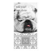 Your Monogram, Grey Damask Pattern 2 Card