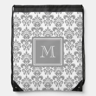 Your Monogram, Grey Damask Pattern 2 Cinch Bag