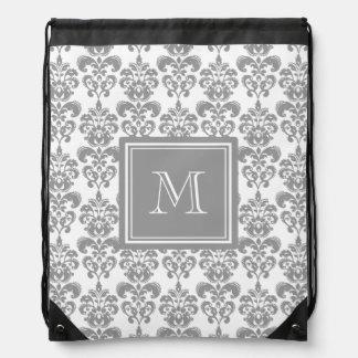 Your Monogram, Grey Damask Pattern 2 Drawstring Backpack