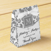 Your Monogram, Grey Damask Pattern 2 Favor Box