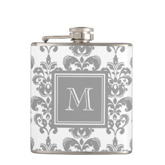 Your Monogram, Grey Damask Pattern 2 Flask