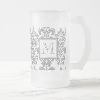 Your Monogram, Grey Damask Pattern 2 Frosted Glass Beer Mug