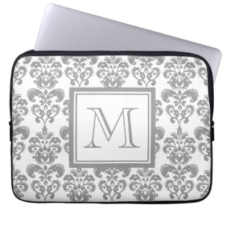 Your Monogram Grey Damask Pattern 2 Laptop Computer Sleeves