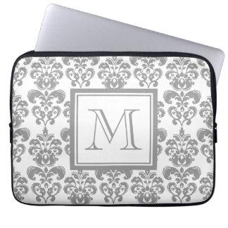 Your Monogram, Grey Damask Pattern 2 Laptop Sleeve