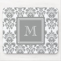 Your Monogram, Grey Damask Pattern 2 Mouse Pad