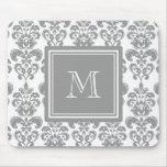 Your Monogram, Grey Damask Pattern 2 Mousepads