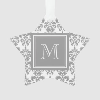 Your Monogram, Grey Damask Pattern 2 Ornament