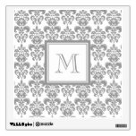 Your Monogram, Grey Damask Pattern 2 Room Decals