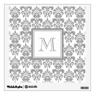 Your Monogram, Grey Damask Pattern 2 Wall Graphics