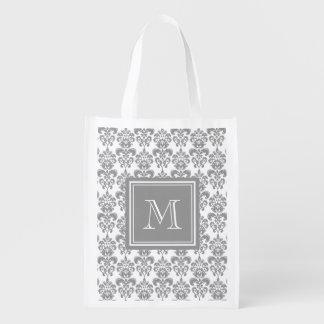 Your Monogram, Grey Damask Pattern 2 Market Tote